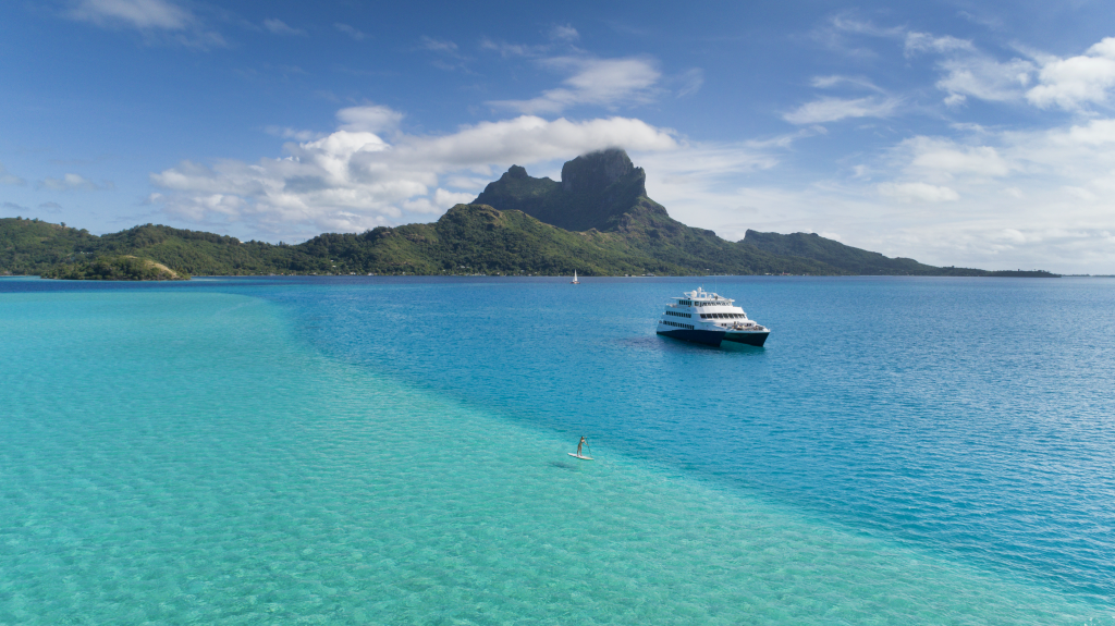 A beautiful view of Tahiti's crystal clear waters.